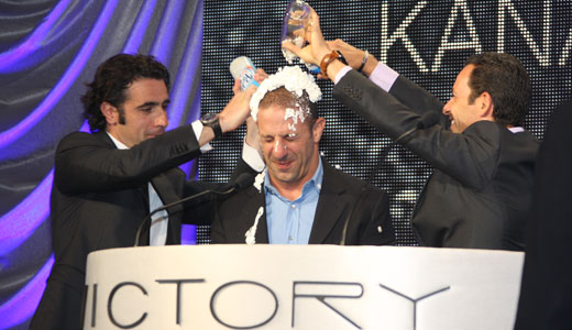 Dario and Helio give TK a whipped cream shower