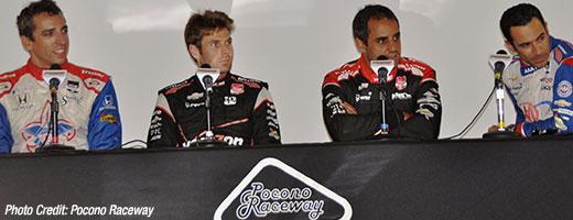 Justin Wilson, Will Power, Juan Pablo Montoya, and Helio Castroneves