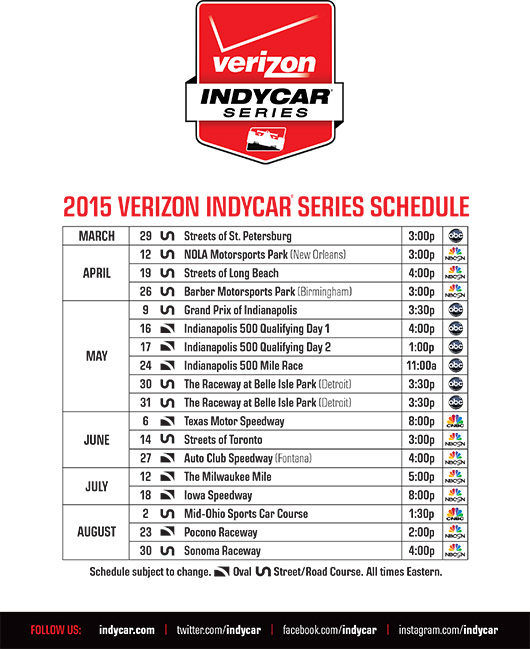 Calendario Indycar.Indycar Unveils Diverse 17 Race Schedule For 15