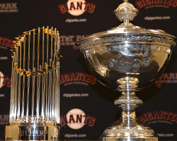 Championship Trophies on display at Giants Stadium