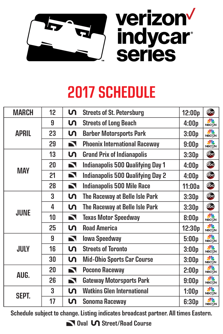 2017 Verizon IndyCar Series Television Broadcast Schedule