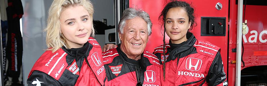 Chloe Grace Moretz, Sasha Lane, and Mario Andretti