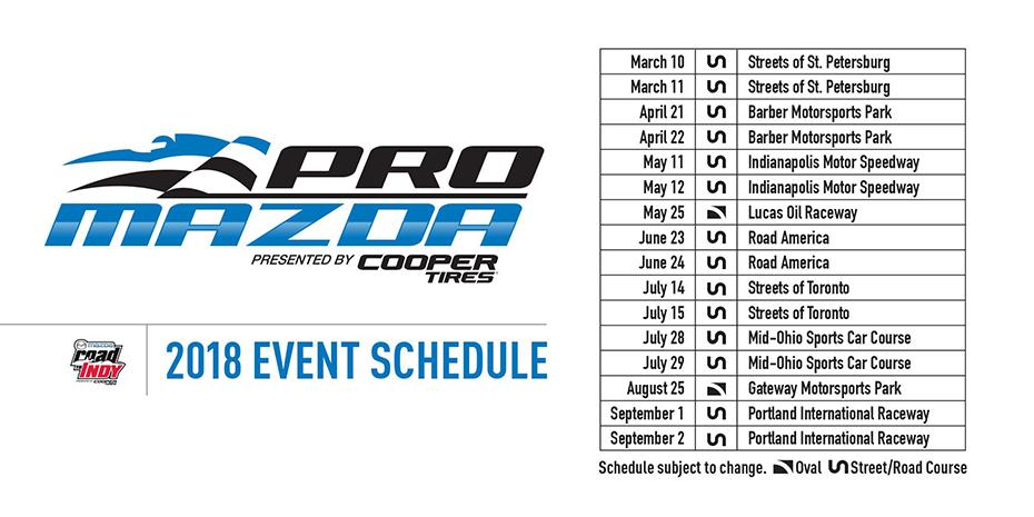 2018 Pro Mazda Schedule