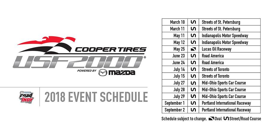 2018 Cooper Tires USF2000 Schedule