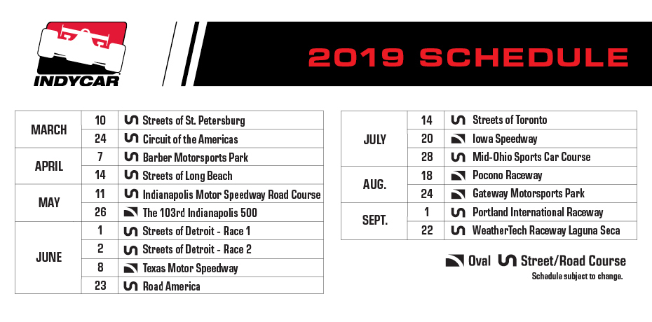 Calendario Formula Indy 2019.Circuit Of The Americas Joins 17 Race Indycar Schedule In 2019