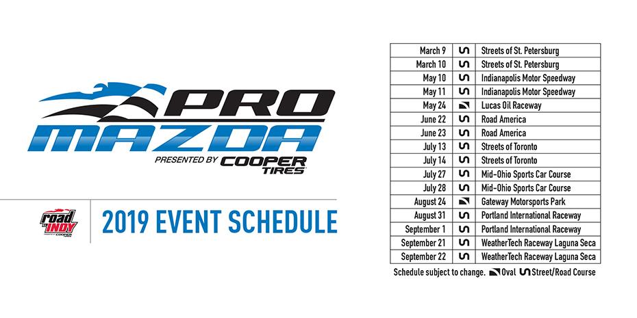 2019 Pro Mazda Schedule