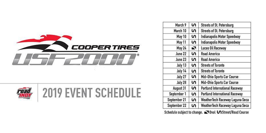 2019 Cooper Tires USF2000 Schedule