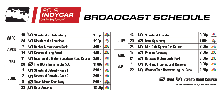 2019 IndyCar Series Broadcast Schedule