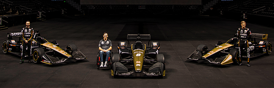 James Hinchcliffe, Robert Wickens, and Marcus Ericsson
