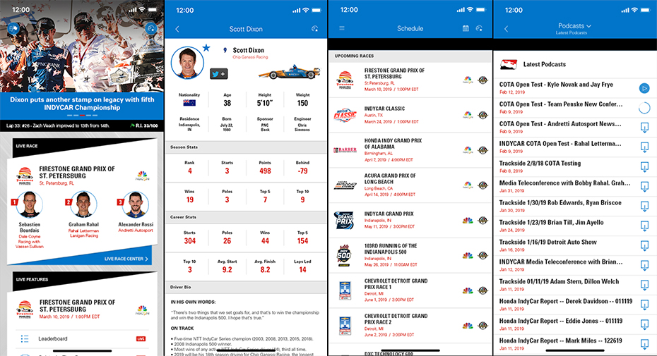 2019 INDYCAR Mobile App powered by NTT DATA