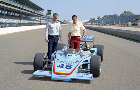 Dan Gurney and Bobby Unser, 1975 Indy 500 winning car