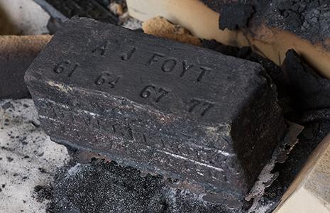 A.J. Foyt IMS brick blackened after firing