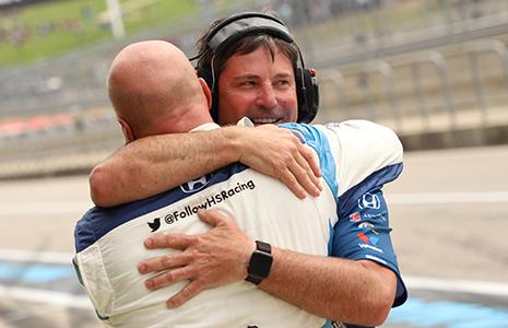 Mike Harding celebrates COTA win with crewman