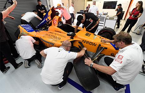 Fernando Alonso crashed car in garage