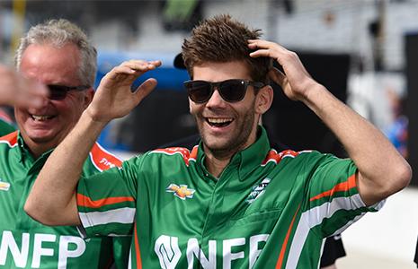 Juncos Racing crewman celebrates
