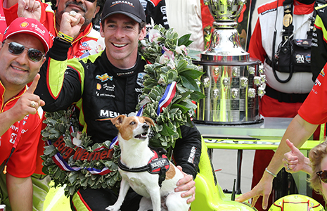 Simon Pagenaud and dog Norman