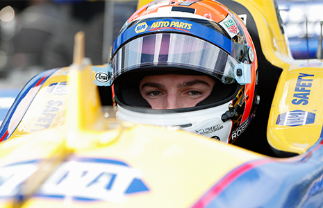 Alexander Rossi in car Detroit