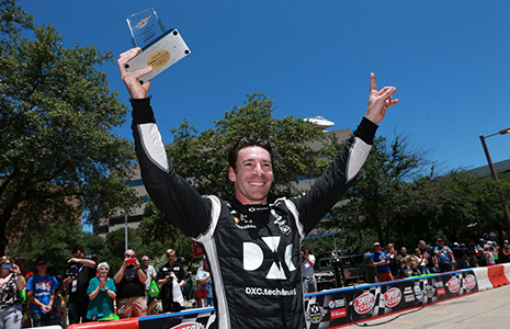 Simon Pagenaud with pit stop challenge trophy