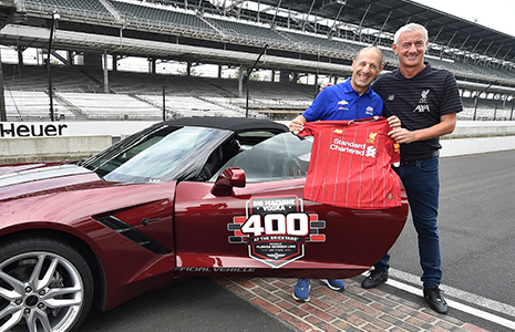 Tony Kanaan and Ian Rush on IMS yard of bricks