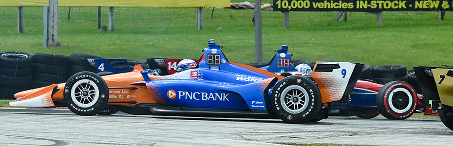 Scott Dixon spins backward at Road America