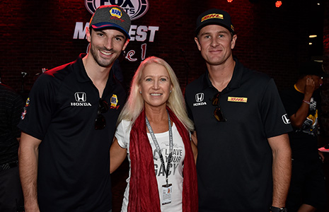 Alexander Rossi, Clea Newman-Soderlund and Ryan Hunter-Reay