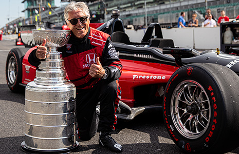 Mario Andretti with the Stanley Cup