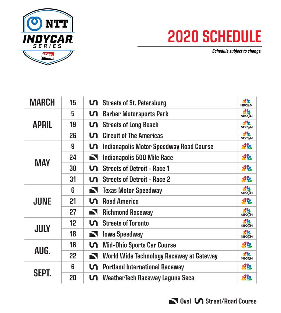 2020 NTT IndyCar Series Schedule