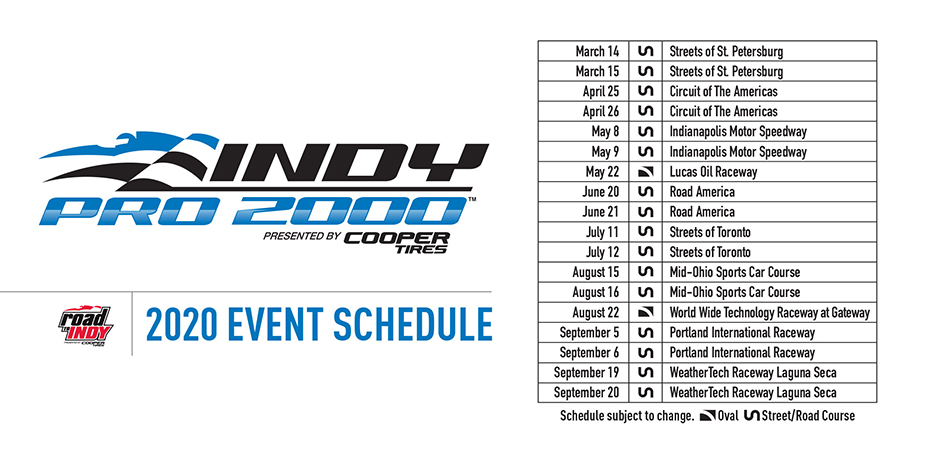 Indy Pro 2000 presented by Cooper Tires 2020 Schedule
