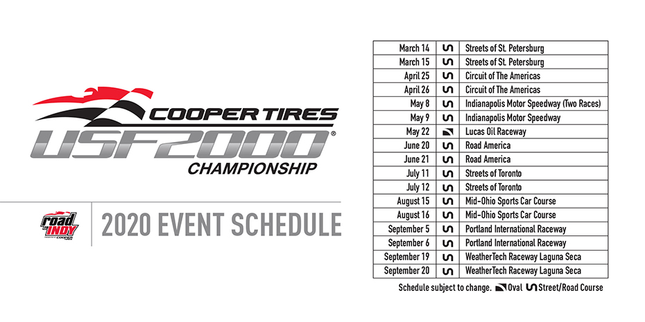 Cooper Tires USF2000 Championship 2020 Schedule