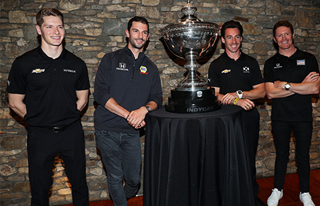 Josef Newgarden, Alexander Rossi, Simon Pagenaud and Scott Dixon with Astor Cup