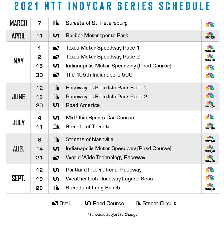 2021 NTT INDYCAR SERIES Schedule