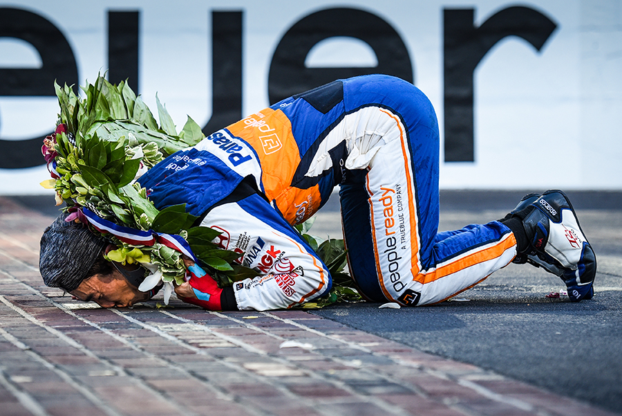 Takuma Sato celebrating his win