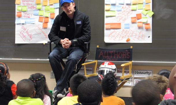 Charlie Kimball speaking to children on diabetes
