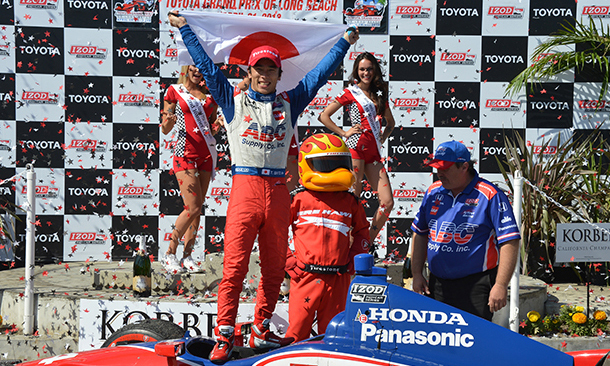 Sato becomes 1st driver from Japan to win race