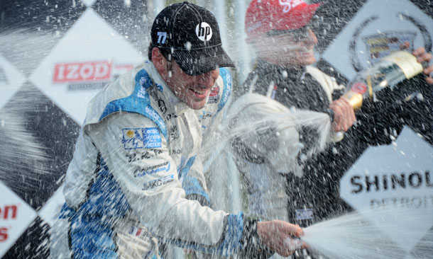 Simon Pagenaud sprays the champagne