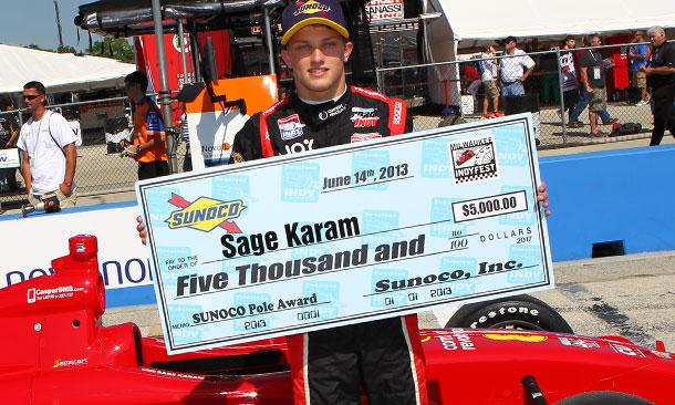 Sage Karam wins the pole in Milwaukee