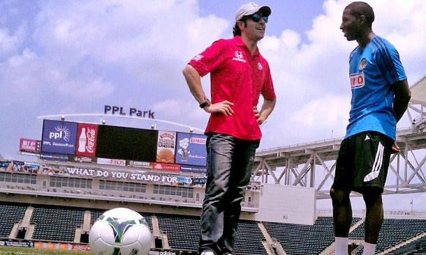 Dario Franchitti visits the MLS Philadelphia Union