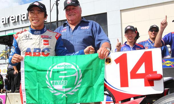 Takuma Sato wins the Verizon P1 Award for Race 1 in Houston