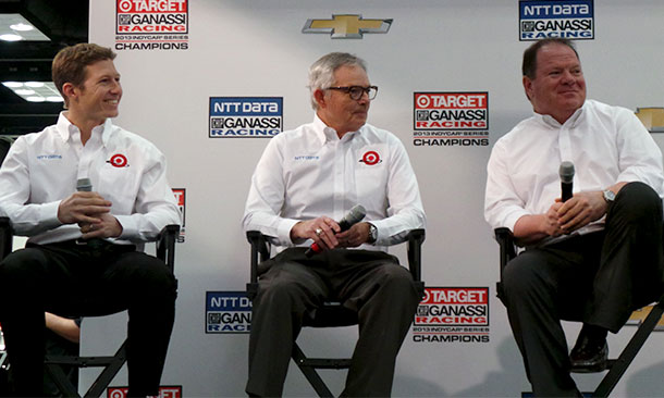 Ryan Briscoe, Mike Hull, and Chip Ganassi