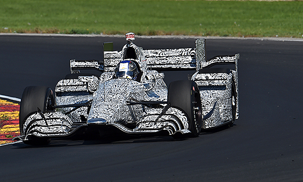 Marco Andretti tests his car at Road America in September.