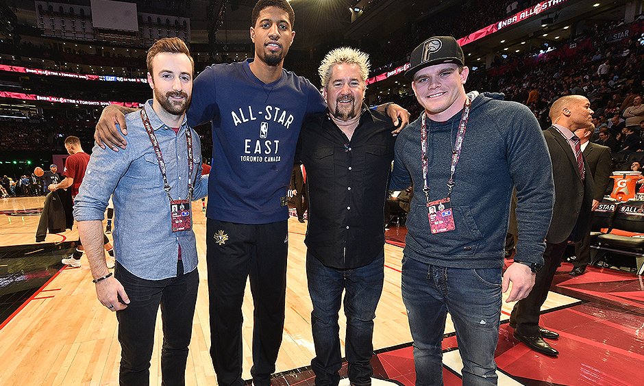 James Hinchcliffe, Paul George, Guy Fieri, and Conor Daly