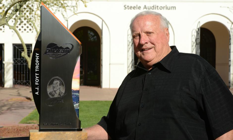 Foyt with new Phoenix trophy