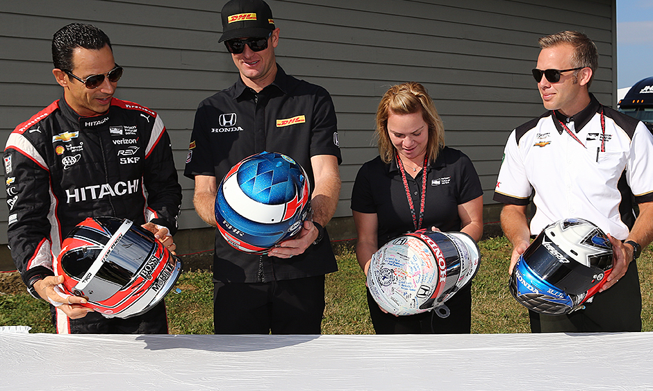 Helio Castroneves, Ryan Hunter-Reay, Sarah Fisher, and Ed Carpenter