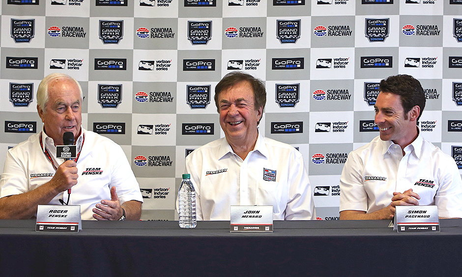 Roger Penske, John Menard, and Simon Pagenaud
