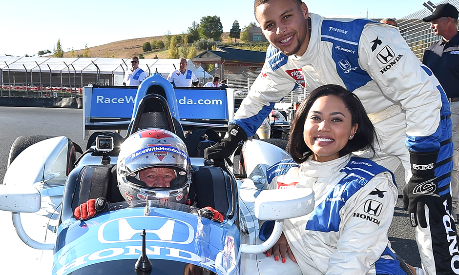 Steph Curry, Ayesha Curry, and Mario Andretti