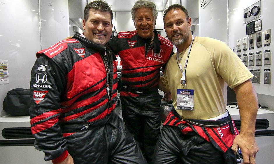 Mark Schlereth, Mario Andretti, and Mike Alstott