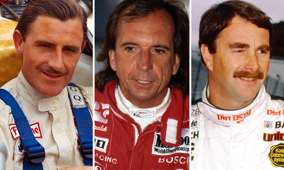 Graham Hill, Emerson Fittipaldi, and Nigel Mansell