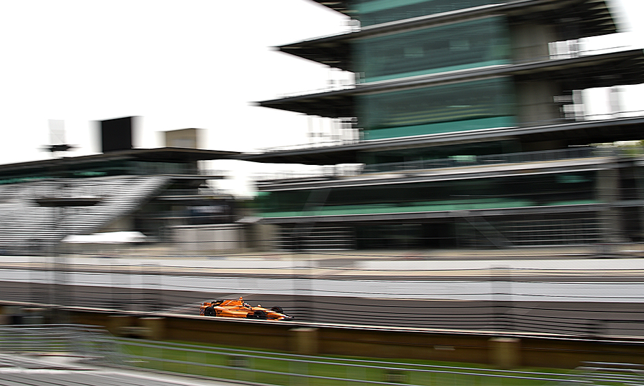 Fernando Alonso at speed at Indianapolis
