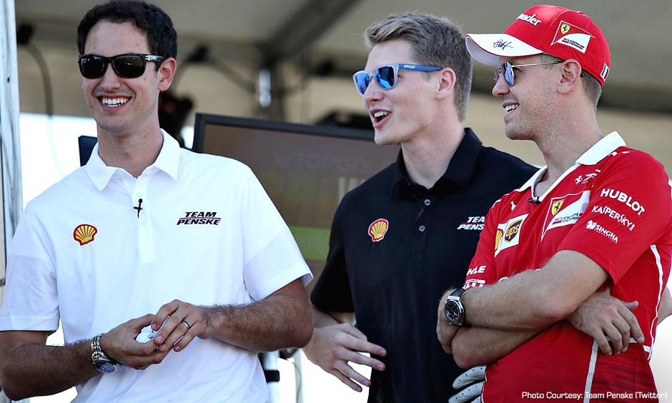 Joey Logano, Josef Newgarden, and Sebastian Vettel