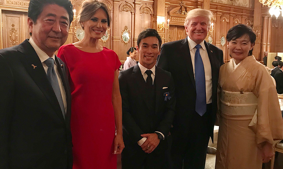 Takuma Sato with Prime Minister Shinzō Abe and President Donald Trump